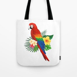 Tropical Macaw Floral Watercolor Tote Bag