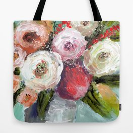 Peach and White Roses Tote Bag
