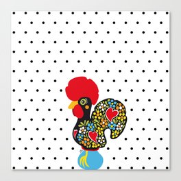 Famous Rooster of Barcelos 01 | Lucky Charm & Polka Dots Canvas Print