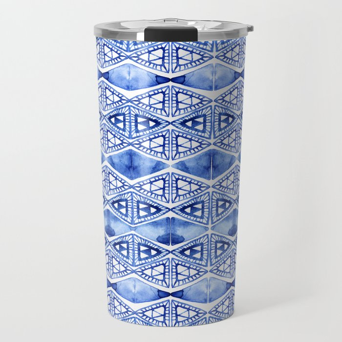 Watercolor blue indigo triangles Travel Mug