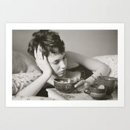 Breakfast in Bed B&W Art Print