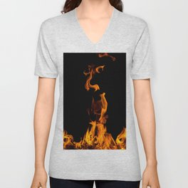 Fire flames on black Unisex V-Neck