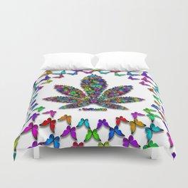 Butterflies Cannabis Leaf 2 Duvet Cover
