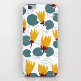 Yellow Waterlilies Lotus Pattern Illustration iPhone Skin