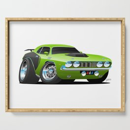 Classic Seventies Style American Muscle Car Cartoon Serving Tray