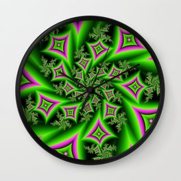 Green And Pink Shapes Fractal Wall Clock