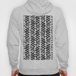 Simple black and white handrawn chevron - horizontal Hoody