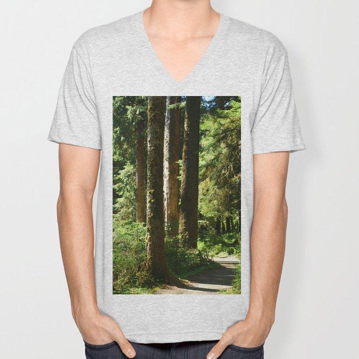 Walkway in Hoh Rainforest Unisex V-Neck