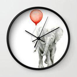 Baby Elephant Watercolor Red Balloon Nursery Decor Wall Clock