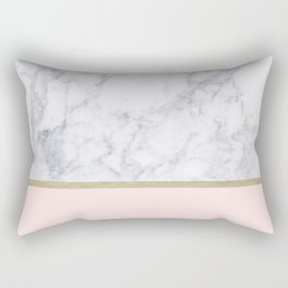 Marble Gold Blush Pink Pattern Rectangular Pillow