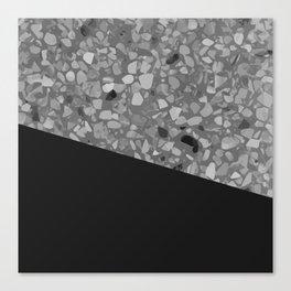 Terrazzo Texture Grey Black #7 Canvas Print