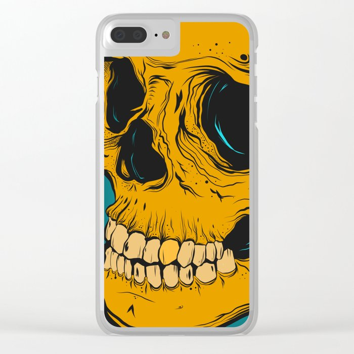 yellow skull Clear iPhone Case