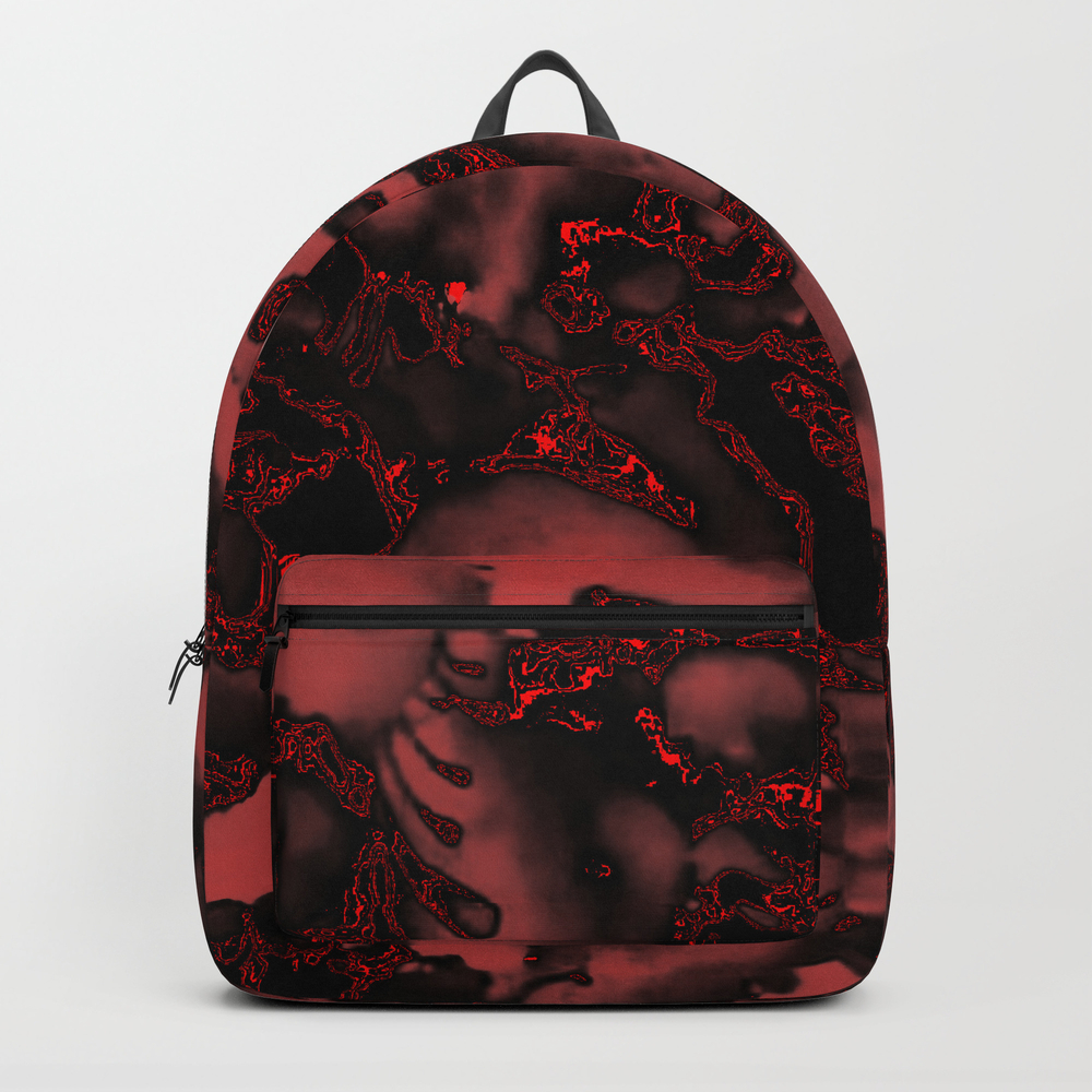Burnt Velvet Red On Black Backpack by Pat71896 BKP7996575