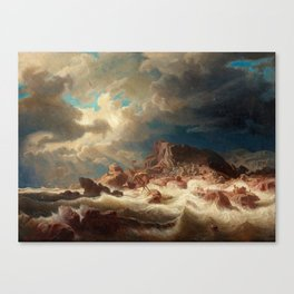 Marcus Larson - Stormy Sea With Ship Wreck Canvas Print