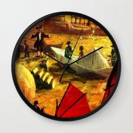 Paper boat in the harbour of Shangai. Illustration for kids Wall Clock