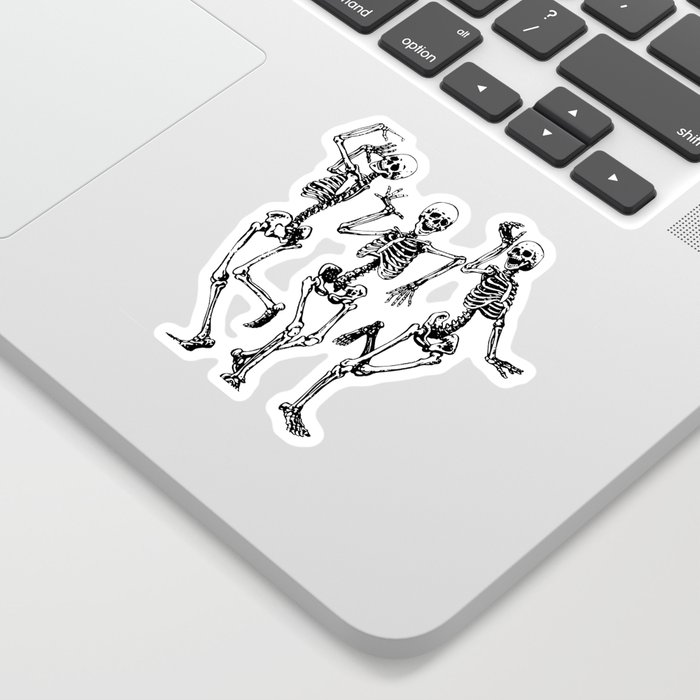 Three Dancing Skulls Sticker