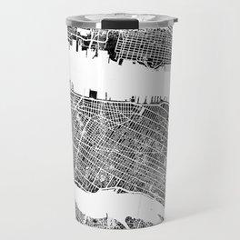 New York City Map United States White and Black Rubbing Travel Mug