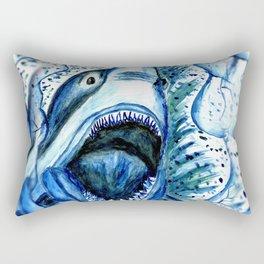 Hungry Shark Drawing Rectangular Pillow