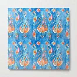 electric blue balinese ikat mini Metal Print
