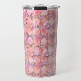 Luxury Gold and Pink Glitter effect oriental pattern Travel Mug