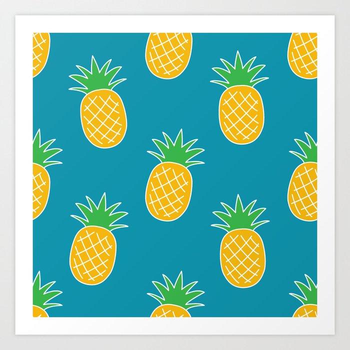 Bright Summer Pineapple Pattern Art Print