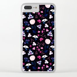 Watercolor Butterflies + Flowers - Black Clear iPhone Case