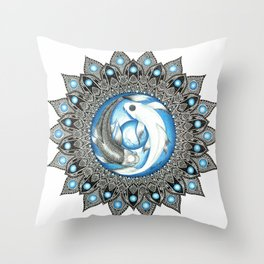 Yin and Yang Butterfly Koi Fish Mandala Throw Pillow