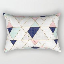 Mod Triangles - Navy Blush Mint Rectangular Pillow