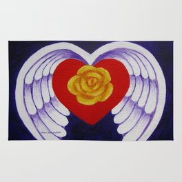 You Are My Angel With Heart Rose And Angel Wings By Annie Zeno Rug
