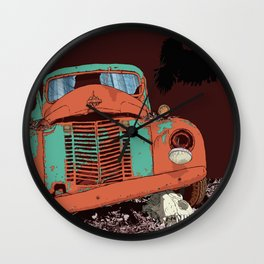Art print: Old vintage car, the Raven and the Wolf skull Wall Clock