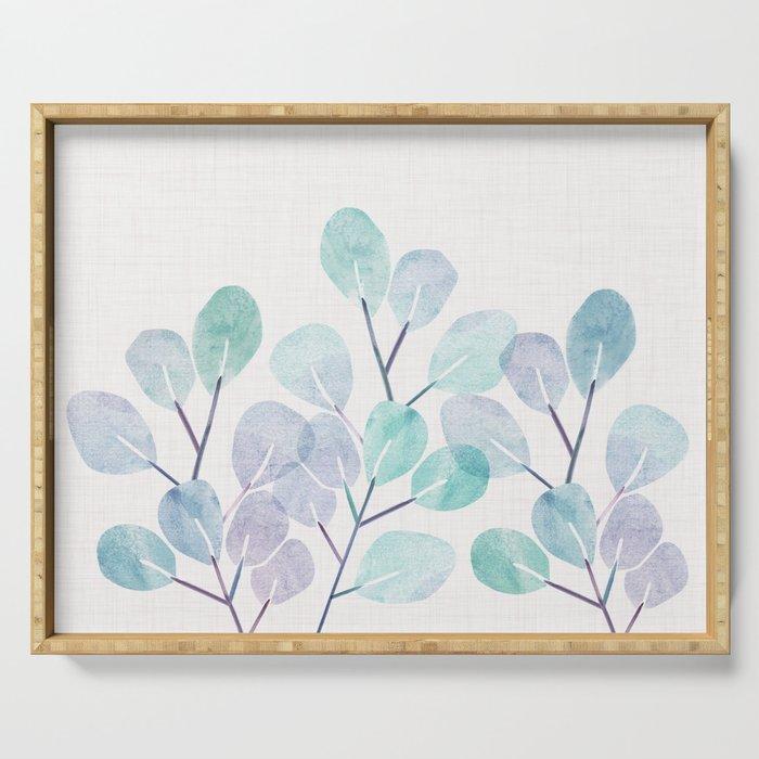 Eucalyptus / Watercolor Collage Serving Tray