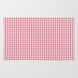 Nantucket Red Micro Gingham Check Plaid Pattern Rug
