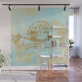 Beach - Mermaid - Mermaid Vibes - Gold glitter lettering on teal glittering background Wall Mural