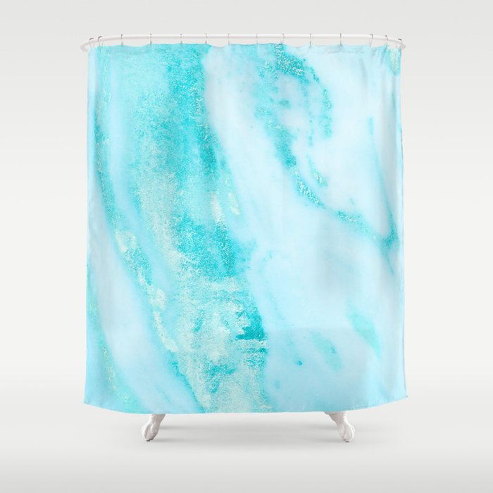 Shimmery Teal Ocean Blue Turquoise Marble Metallic Shower Curtain
