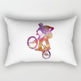 Man bmx acrobatic figure in watercolor Rectangular Pillow