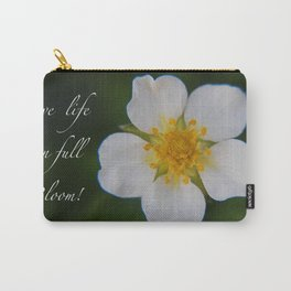 White Strawberry Flower Carry-All Pouch