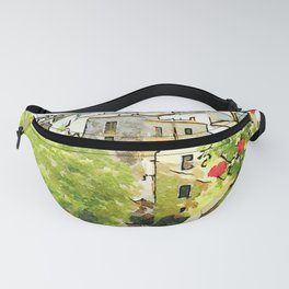 Tortora view of historic center with red flower Fanny Pack