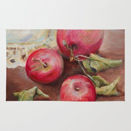 RED APPLES on the table Classic Still life Painting Rug