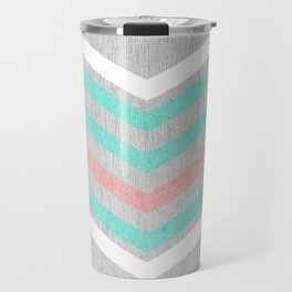 Teal, Pink and White Chevron on Silver Grey Wood Travel Mug