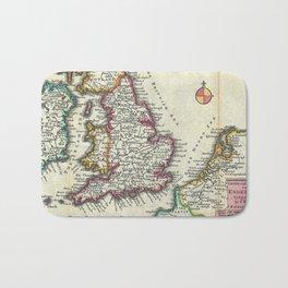 Vintage Map of England (1747) Bath Mat