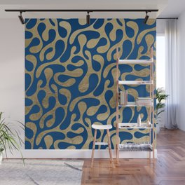 Abstract elegant navy blue faux gold animal print pattern Wall Mural
