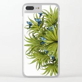 """El Bosco fantasy, tropical island blue butterflies 02"" Clear iPhone Case"
