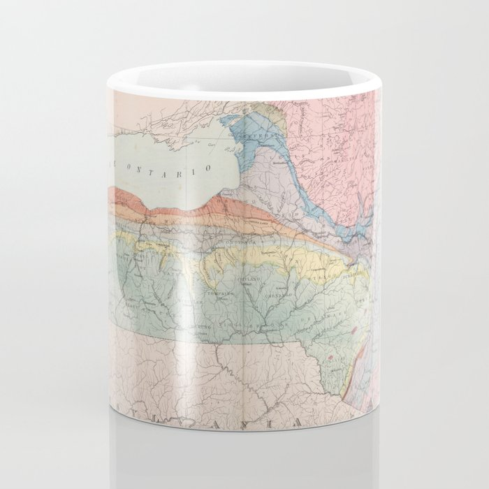 Vintage Geological Map of New York State (1870) Coffee Mug