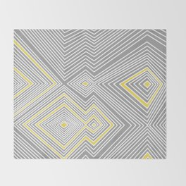 White, Yellow, and Gray Lines - Illusion Throw Blanket