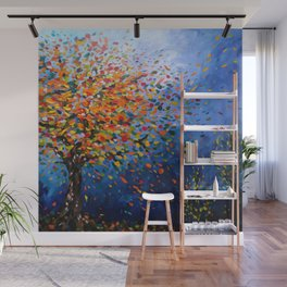 Fall Trees with Leaves Blowing in the Wind by annmariescreations Wall Mural