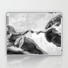 Black and White Creation of Adam Painting by Michelangelo Sistine Chapel Laptop & iPad Skin