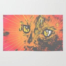 Cat Face Illustration, Cat Eyes Art Work Rug