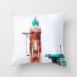 The old lighthouse and modern architecture Throw Pillow