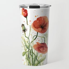 Red Poppies Watercolor Flower Floral Art Travel Mug