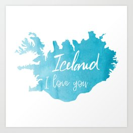 Iceland I love you - ice version Art Print